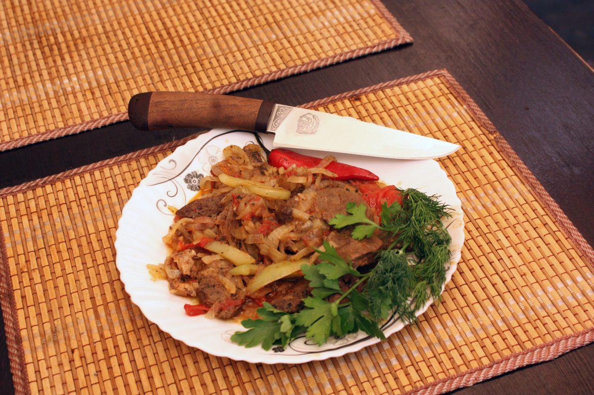 Нож Барибал или готовим печень в казане