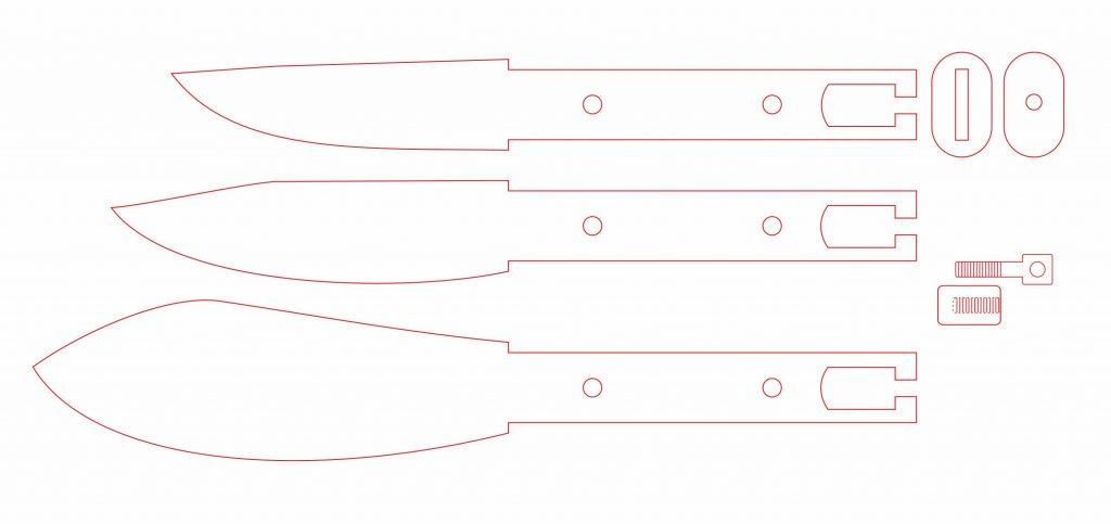набор из трех ножей